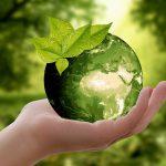 手に乗っている緑の地球